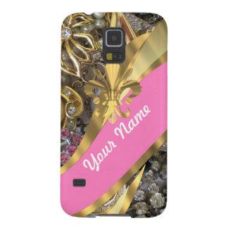 Gold bling fleur de lys galaxy s5 cover