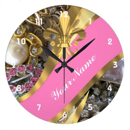 Gold bling fleur de lys large clock