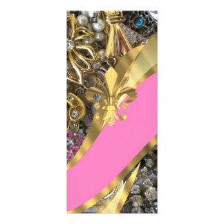 Gold bling fleur de lys rack card