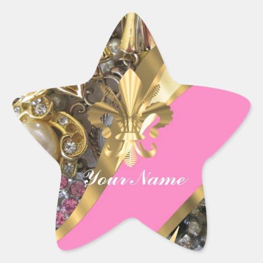 Gold bling fleur de lys star sticker