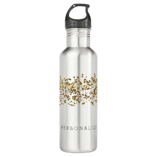 Gold Bling Glitter Confetti Water Bottle