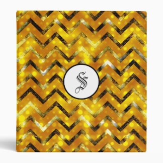 Gold bling glitter monogram chevron 3 ring binder