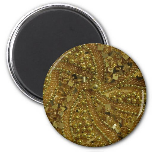 Gold bling glitter & pearls 2 inch round magnet