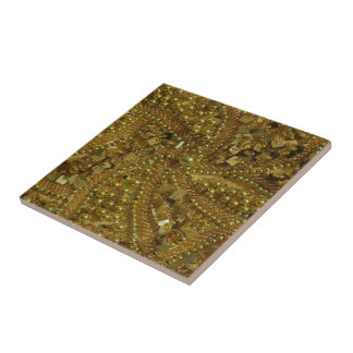 Gold bling glitter & pearls ceramic tile