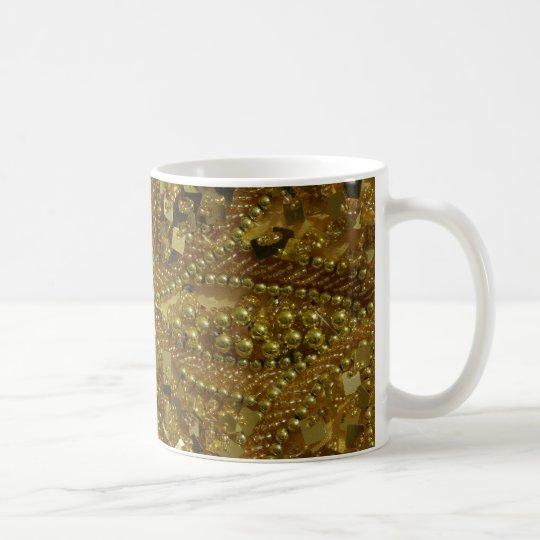 Gold bling glitter & pearls coffee mug
