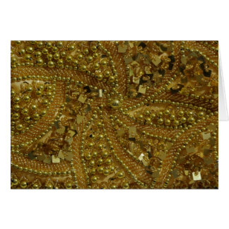 Gold bling glitter & pearls greeting card