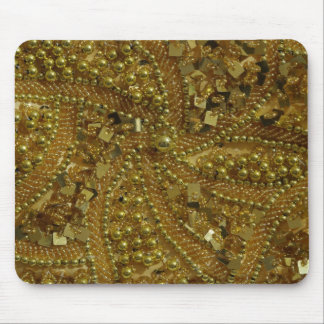 Gold bling glitter & pearls mouse pad