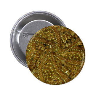 Gold bling glitter & pearls pinback button