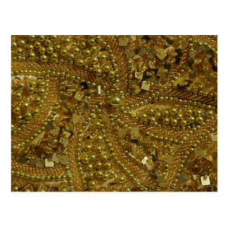 Gold bling glitter & pearls postcard