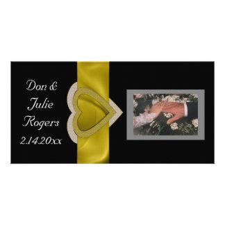 Gold Bling Hearts Custom Customized Photo Card