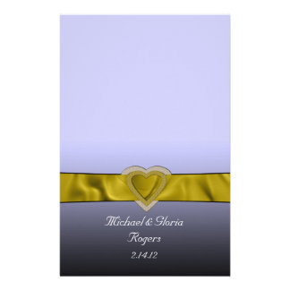 Gold Bling Hearts Stationery