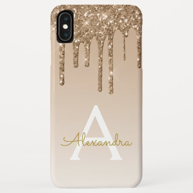 Gold Bling Luxury Sparkle Glitter Monogram I Phone Xs Max Case by Hot Foil Creations