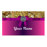 Gold bling & magenta business card