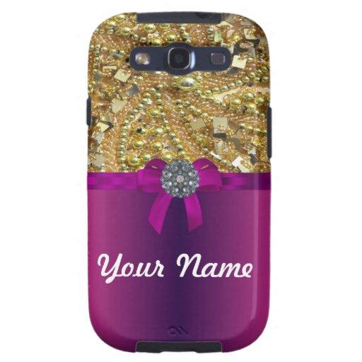 Gold bling & magenta galaxy s3 case
