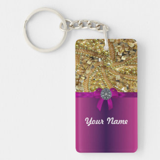 Gold bling magenta acrylic keychains