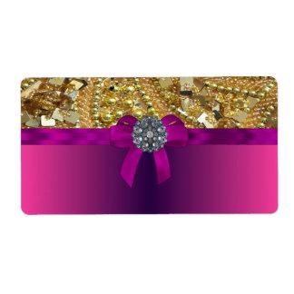 Gold bling & magenta shipping label