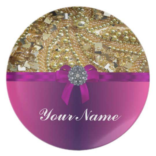 Gold bling & magenta melamine plate