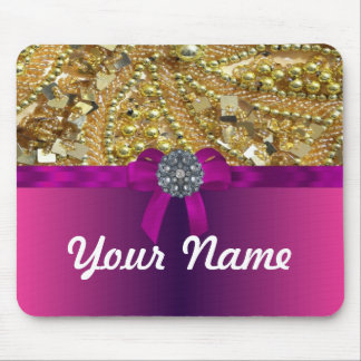 Gold bling & magenta mouse pad