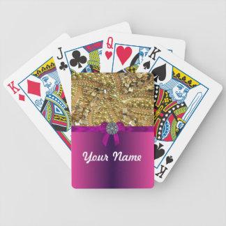 Gold bling & magenta poker deck