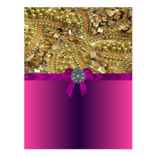 Gold bling & magenta postcard