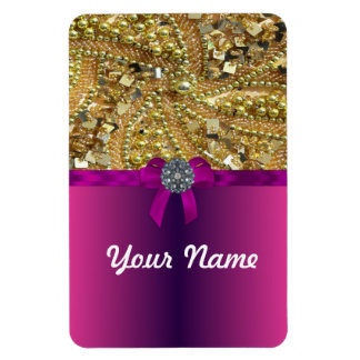 Gold bling & magenta rectangular photo magnet