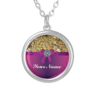 Gold bling & magenta round pendant necklace