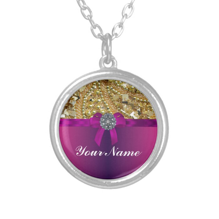 Gold bling & magenta silver plated necklace