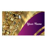 Gold bling & magenta swirl business card