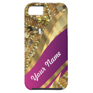 Gold bling magenta swirl iPhone 5 cases
