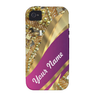 Gold bling magenta swirl case for the iPhone 4