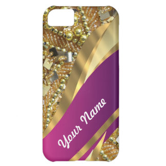 Gold bling magenta swirl iPhone 5C covers