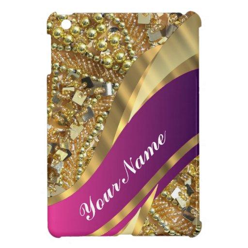 Gold bling & magenta swirl case for the iPad mini