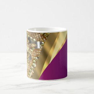 Gold bling & magenta swirl coffee mug