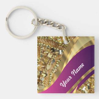 Gold bling & magenta swirl keychain