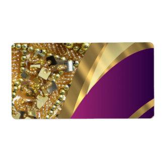 Gold bling & magenta swirl shipping label