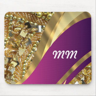 Gold bling & magenta swirl mouse pad