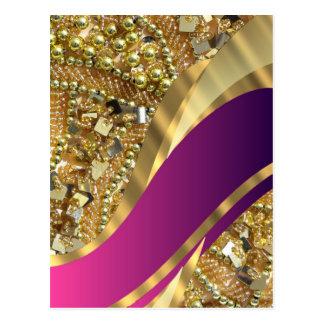 Gold bling & magenta swirl postcard