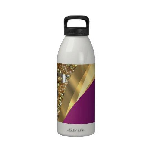 Gold bling & magenta swirl reusable water bottle