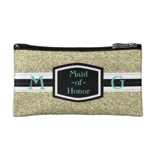 Gold Bling Maid-of-Honor Gift Makeup Bag