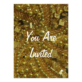 Gold bling & pearls custom announcement