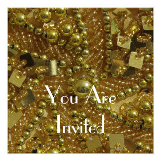 Gold bling pearls invite