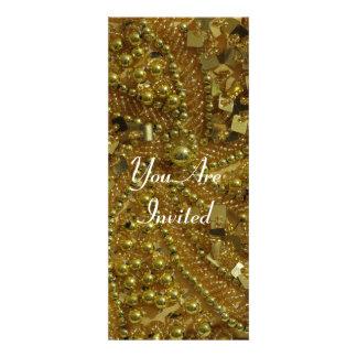 Gold bling pearls invitation