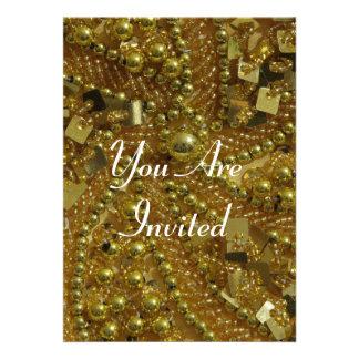 Gold bling pearls custom announcement