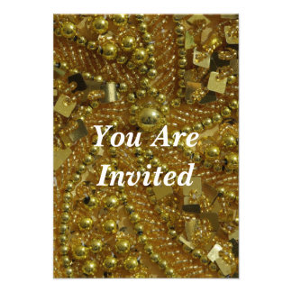 Gold bling pearls invites