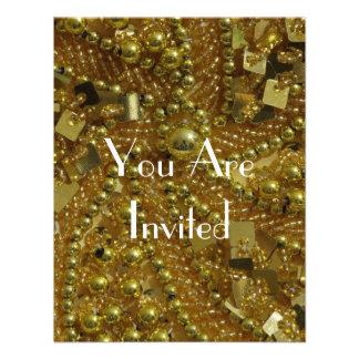 Gold bling pearls custom invite