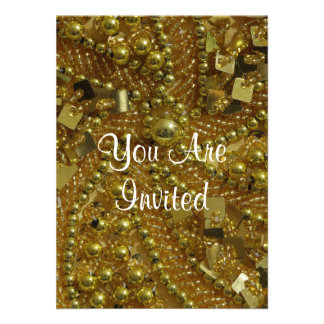 Gold bling & pearls personalized announcements