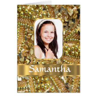 Gold bling photo background card