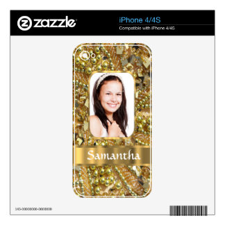 Gold bling photo background iPhone 4 decal
