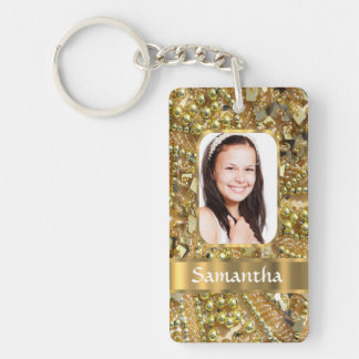 Gold bling photo background keychain