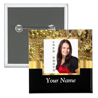 gold bling photo template button